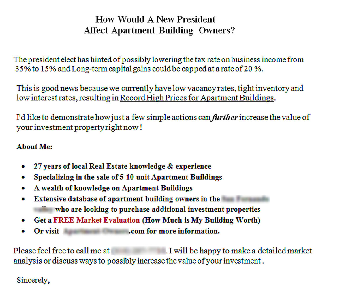 which multifamily prospecting letter would you choose