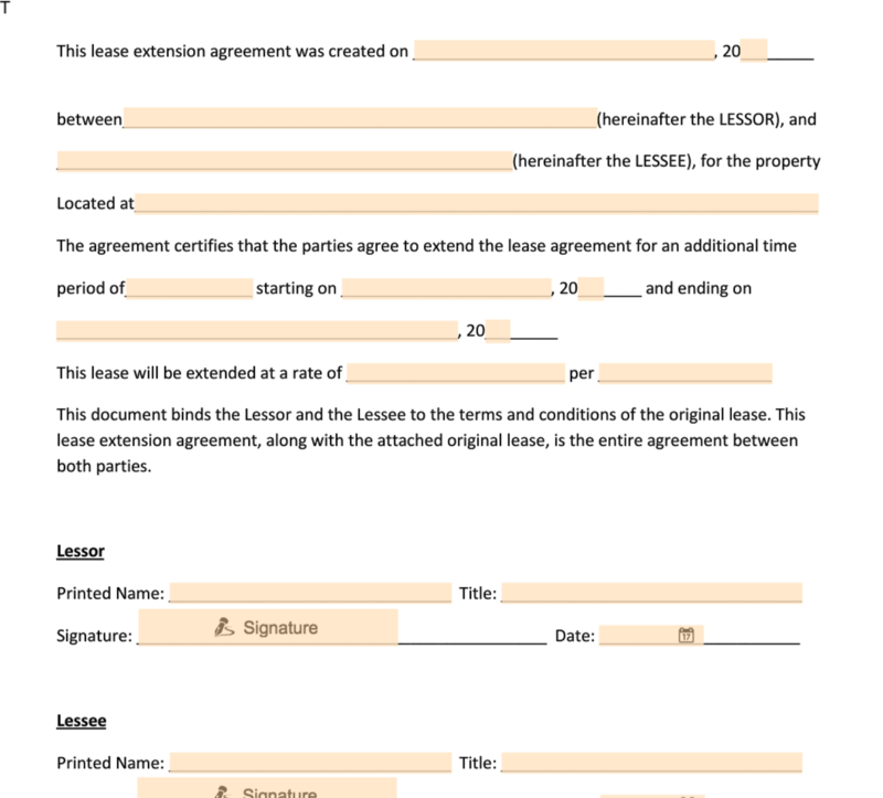 Lease Renewal Form Document