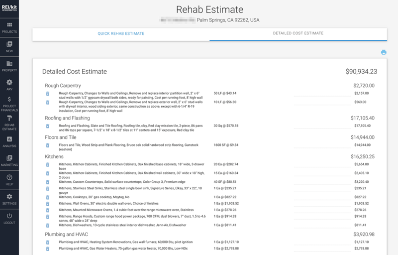 REIkit Rehab Estimation Tool