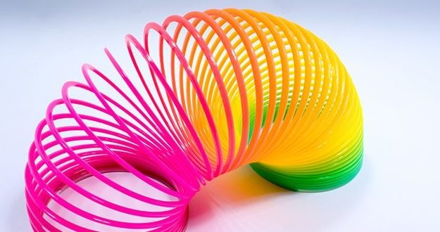 Isolated Colorful and Flexible Bouncy Plastic Spring