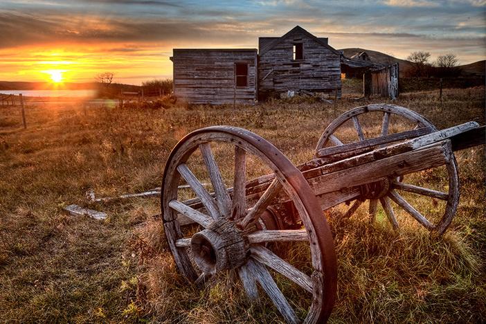 Ghost Town Galilee Saskatchewan cart wheel abandoned