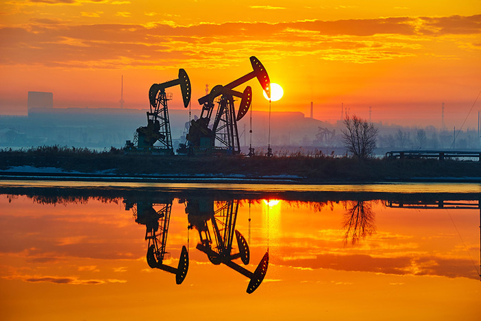 oil field vivid sunset