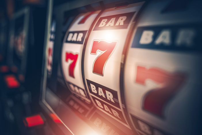 closeup of casino slot machine